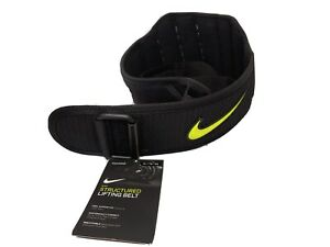 "Nike Unisex Structured Training Lifting Belt 2.0 Size X-Large 40-44"" Black/Volt"