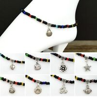 Glass Beads Stretch Ankle Bracelet with Tibetan Silver Charm Midnight Collection