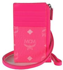 New MCM Lanyard Neon Pink Visetos Canvas Mini Zip ID Card Case Wallet