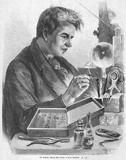 Thomas Edison in der Werkstatt, Original-Holzstich von 1880