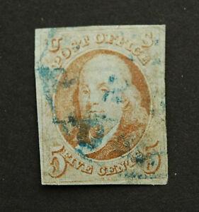 Scott #1 1847 Benjamin Franklin 5 Cent Used Stamp