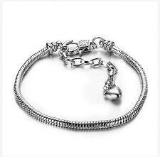 Silver Bracelets chain Screw bangle For European sterling 925 Charms Beads a1