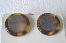 Brown and Grey Round Earrings Vintage Stock 1990s Retro