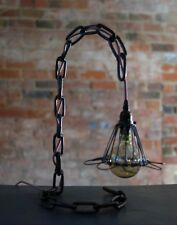 Vintage Caged Large Chain Lamp Industrial Retro
