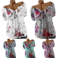 Women Boho Floral V Neck Top Short Sleeve Summer Blouse Casual T-Shirt Baggy Tee