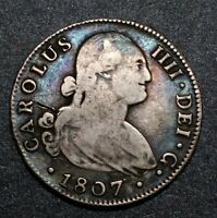 1807 Spain King Ferdinand VII 4 Reale Seville CN Silver Colonial Nice Coin
