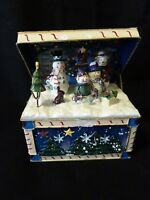 CHRISTMAS MUSIC BOX-SILENT NIGHT-METAL TRUNK W. SNOWMEN-TREES-MICA DUST-KOHL'S S