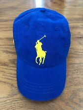 POLO RALPH LAUREN ROYAL BLUE CHINO YELLOW BIG PONY 6 PANEL HAT COTTON TWILL CAP