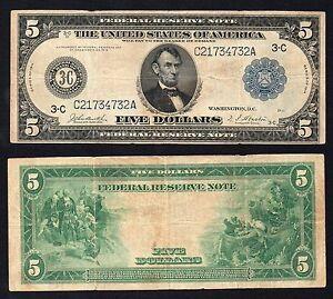 United States - 5 dollars Federal Reserve PHILADELPHIA 1914 (Large) BB/VF  S-01