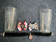 WoW World of Warcraft lot 2 etched glasses, 2 hair bow/bow tie, 1 pendant choker