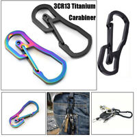 Titanium Plating Keychain Holder Key Ring Hook Climbing Carabiner Camping Clip