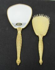 Beautiful Lady Fair Carved Rose 24Kt Gold-Plated Vanity Bath Hand Mirror Brush