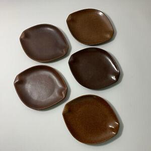 Set of 5 Roseville Pottery Raymor #154 B&B Plates - Brown MCM Vtg