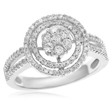 Cluster Halo Cocktail Right Hand Ring 14K White Gold Pave Diamond Flower