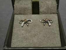 NEW Welsh Clogau Silver & Rose Gold Tree Of Life Bow Stud Earrings RRP £109