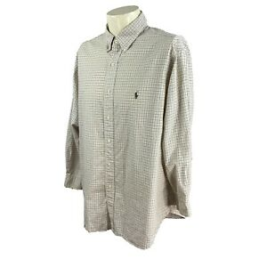 Ralph Lauren Polo Men's Classic Fit Cream Khaki Green Check Shirt 17.5 32/33 XL