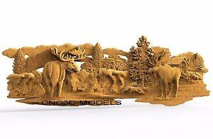 3D Model STL for CNC Router Engraver Carving Artcam Aspire Deer Elk Moose 8225