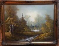 Oil Painting River Forest Scene Framed Signed K Powell
