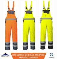 Portwest Hi Vis Contrast Bib & Brace Waterproof Breathable Dungarees Coveralls