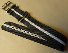 Mens Nylon 20mm Timex Sport Weekender Watch Band Black Gray Military Style