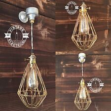 INDUSTRIAL CAGE WALL LIGHT LAMP STEAMPUNK STEEL VINTAGE BAR PUB CAFE