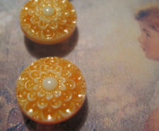 "Set of 4 Vintage 1/2"" Apricot Lace Painted Glass Buttons~Pre WWII~new/old stock"