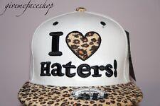 I Love Haters Leopardo Snapback Cap, Premium Plana Pico ajustada Béisbol Hiphop Sombrero