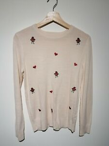 M&S Size S Cream/Light Beige Christmas Jumper Sparkly Robins Embroidered