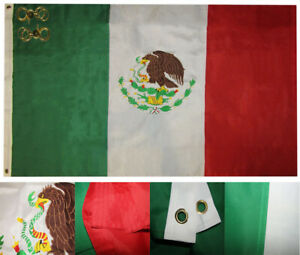 4x6 Mexico Mexican Country 4'x6' 210D Nylon Embroidered Flag 2 Clips (Banners)