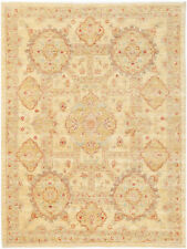 5X7 Hand-Knotted Farhan Carpet Traditional Beige Fine Wool Area Rug D41101