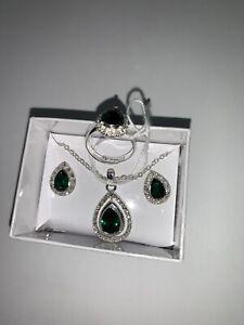3pc/set Love Heart Emerald Pendant Necklace Earrings Ring Wedding Jewellery Gift