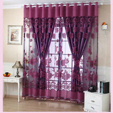 Voile Window Curtains Flower Pattern Sheer Panel Drape Curtains with Grommet FO