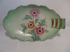 Carlton Ware New Anemone 4219 Art Deco Step Handle Oval Tray c1938 Lime Green