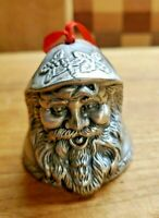 Vintage Metal Super Ornate Santa Bell Ornament
