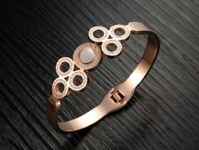 """Bracelet Jonc """"ROMA"""" Plaqué Or rose avec pièce de nacre (18k bangle tendance)"""