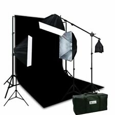 2400 Watt 3 Softbox photography Boom Hair lighting Kit 10x20 Black Backdrop