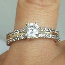 1 carat Woman's 10k Yellow Gold  Round man made diamond Engagement  Ring S 6.5