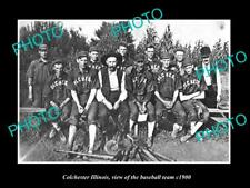 OLD POSTCARD SIZE PHOTO OF COLCHESTER ILLINOIS THE TOWN BASEBALL TEAM c1900