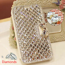 Bling Crystal Diamonds Rhinestone Leather Wallet Flip Case For iPhone/Samsung