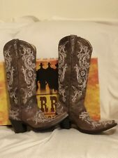 NIB- Corral Boots- Brown/White- Full Stitch & Studs- Leather Cowgirl Boots-10.5