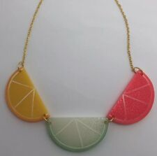 Fruit Triple Large Orange Lime Grapefruit Charms Necklace Gold Chain Pink Green