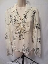 The Limited Silk 100% Silk Pull Over Shirt  Ivory w/Black Flowers  Women's Small