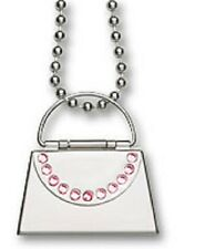 """Necklace Pink CZ Message Purse Charm Pendant Stainless Steel Ball Chain 22"""" New"""