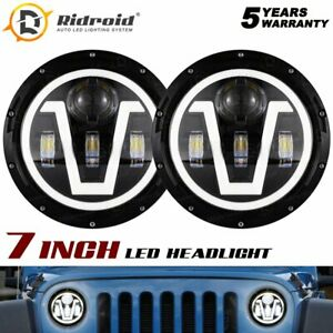 Black 7 Inch LED Headlight Halo Ring DRL For Jeep Wrangler JK LJ TJ 1997-2017