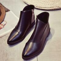 Womens Chelsea Boots  Leather Ankle Booties Block Casual Pointed Toe Shoes