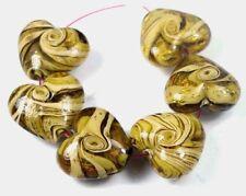 6 Lampwork Handmade Glass Foil Yellow Cream Heart Beads 20x24mm