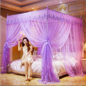 Princess 4 Corner Post Bed Mosquito Net Curtain Canopy Netting Queen King B