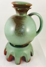 """Frankoma 11"""" Woodlands Moss Pottery Decanter W/ Warmer & Stopper #82"""