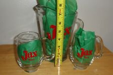 "Jax Beer~Vintage 7 1/2""T Painted Pitcher w/2 Handled Glasses-Rare !"