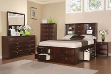 Bedroom Modern Cal King Bed Dresser Mirror Nightstand 4pc Furniture Drawers Bed
